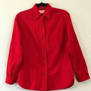 Pendleton 100% Wool Red Button Down Shirt 1374